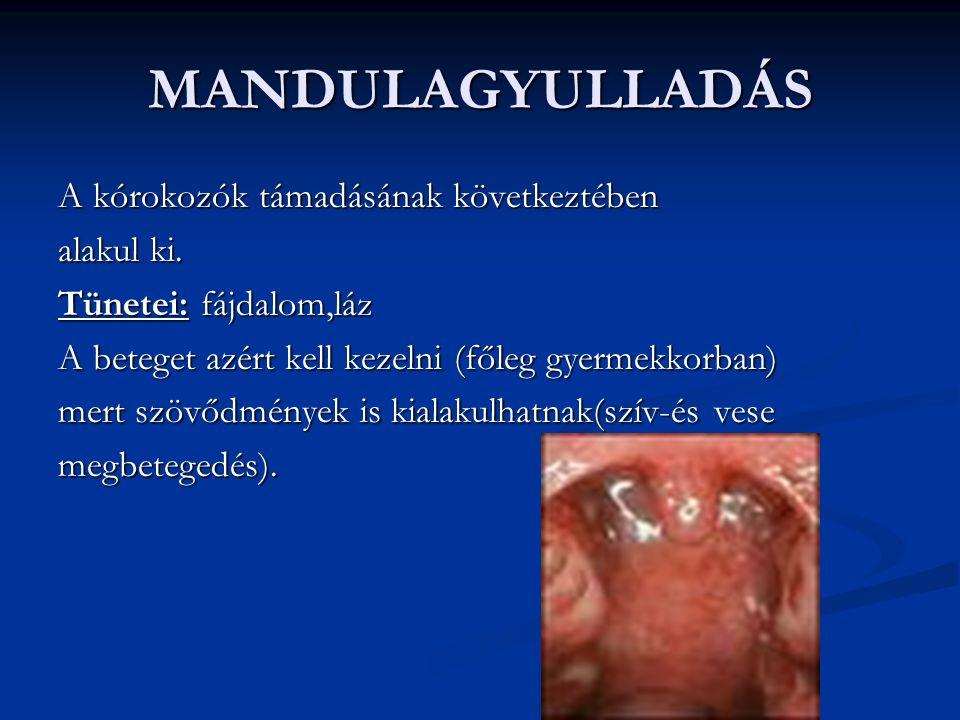 MANDULAGYULLADÁS A kórokozók támadásának következtében alakul ki.