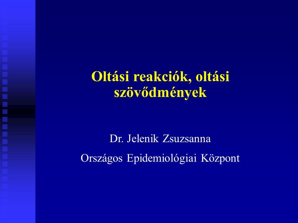Oltási reakciók, oltási szövődmények Dr. Jelenik Zsuzsanna Országos Epidemiológiai Központ