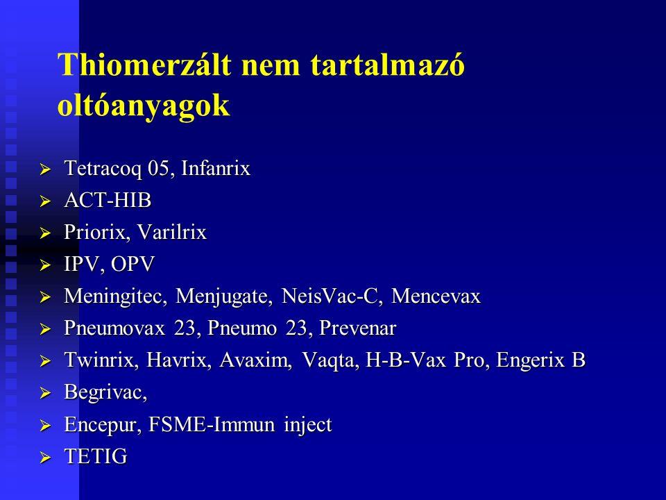 Thiomerzált nem tartalmazó oltóanyagok  Tetracoq 05, Infanrix  ACT-HIB  Priorix, Varilrix  IPV, OPV  Meningitec, Menjugate, NeisVac-C, Mencevax  Pneumovax 23, Pneumo 23, Prevenar  Twinrix, Havrix, Avaxim, Vaqta, H-B-Vax Pro, Engerix B  Begrivac,  Encepur, FSME-Immun inject  TETIG