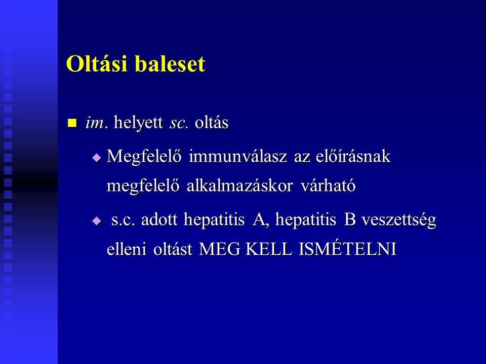 Oltási baleset im. helyett sc. oltás im. helyett sc. oltás  Megfelelő immunválasz az előírásnak megfelelő alkalmazáskor várható  s.c. adott hepatiti