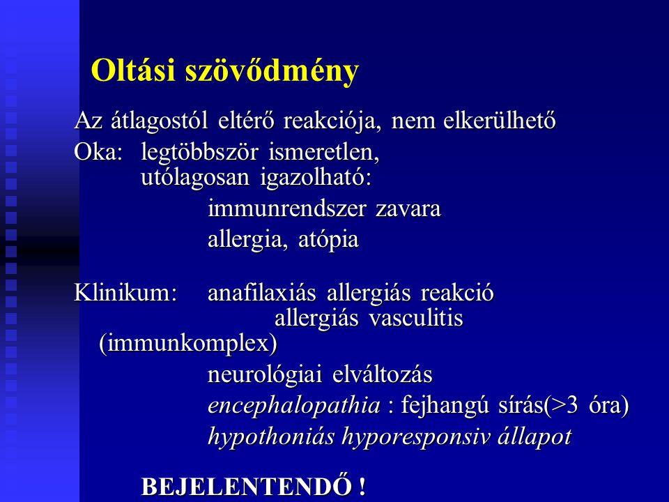 Oltási szövődmény Az átlagostól eltérő reakciója, nem elkerülhető Oka: legtöbbször ismeretlen, utólagosan igazolható: immunrendszer zavara allergia, atópia Klinikum:anafilaxiás allergiás reakció allergiás vasculitis (immunkomplex) neurológiai elváltozás neurológiai elváltozás encephalopathia : fejhangú sírás(>3 óra) hypothoniás hyporesponsiv állapot BEJELENTENDŐ !