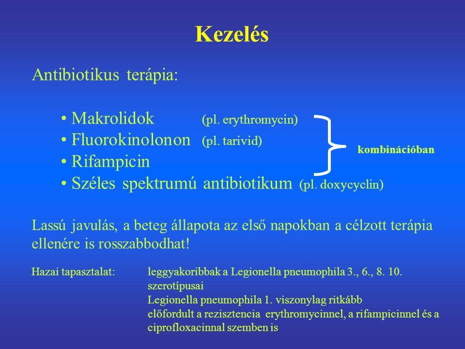 Kezelés Antibiotikus terápia: Makrolidok (pl. erythromycin) Fluorokinolonon (pl. tarivid) Rifampicin Széles spektrumú antibiotikum (pl. doxycyclin) La
