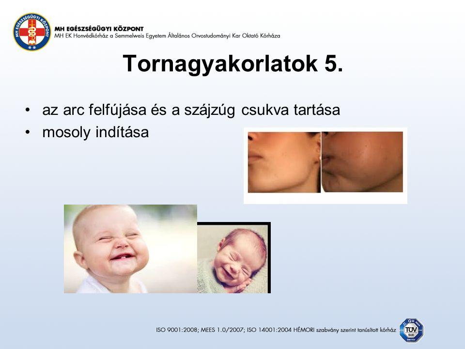 Tornagyakorlatok 5. az arc felfújása és a szájzúg csukva tartása mosoly indítása
