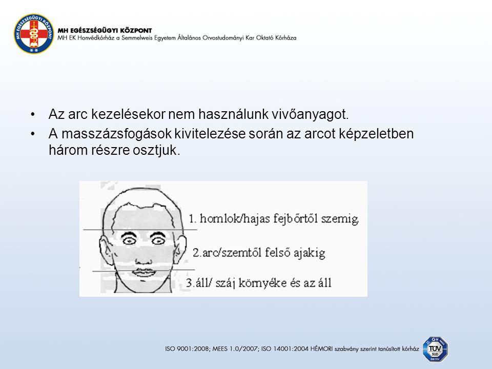 Az arc kezelésekor nem használunk vivőanyagot.