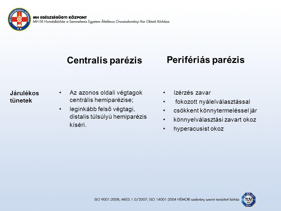 Centralis parézis Az azonos oldali végtagok centrális hemiparézise; leginkább felső végtagi, distalis túlsúlyú hemiparézis kíséri.