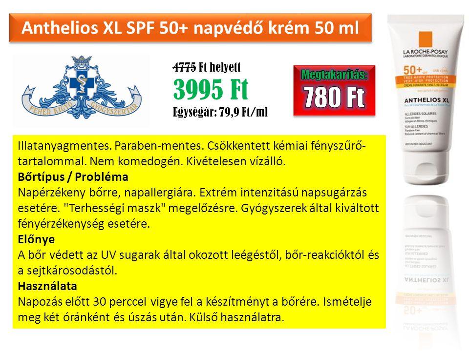 Anthelios XL SPF 50+ napvédő krém 50 ml 4775 Ft helyett 3995 Ft Egységár: 79,9 Ft/ml Illatanyagmentes. Paraben-mentes. Csökkentett kémiai fényszűrő- t