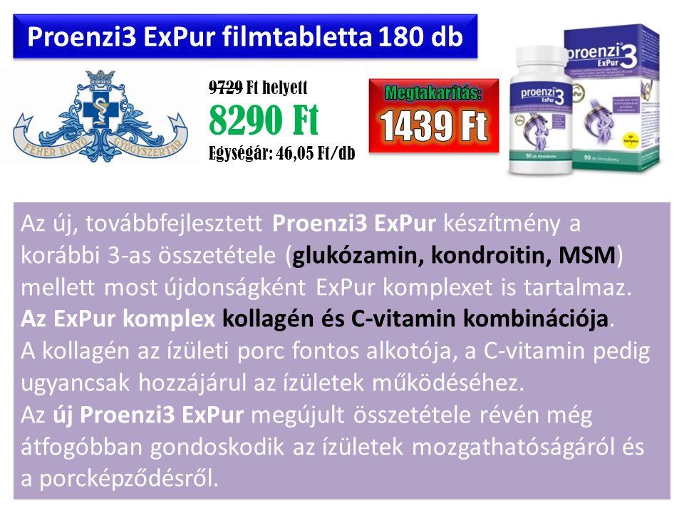 Proenzi3 ExPur filmtabletta 180 db 9729 Ft helyett 8290 Ft Egységár: 46,05 Ft/db Az új, továbbfejlesztett Proenzi3 ExPur készítmény a korábbi 3-as összetétele (glukózamin, kondroitin, MSM) mellett most újdonságként ExPur komplexet is tartalmaz.