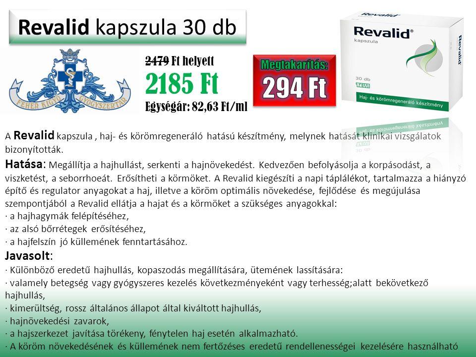 Revalid kapszula 30 db 2479 Ft helyett 2185 Ft Egységár: 82,63 Ft/ml A Revalid kapszula, haj- és körömregeneráló hatású készítmény, melynek hatását kl