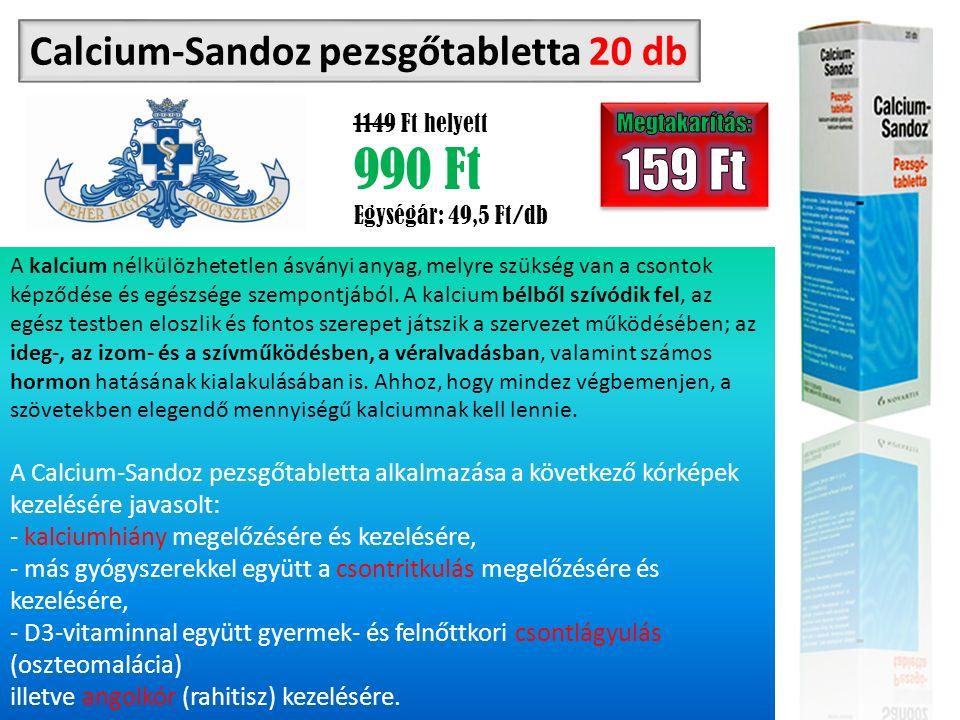 Calcium-Sandoz pezsgőtabletta 20 db 1149 Ft helyett 990 Ft Egységár: 49,5 Ft/db A kalcium nélkülözhetetlen ásványi anyag, melyre szükség van a csontok képződése és egészsége szempontjából.