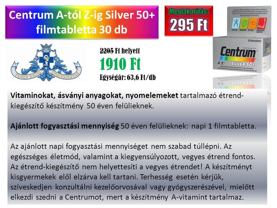 Centrum A-tól Z-ig Silver 50+ filmtabletta 30 db 2205 Ft helyett 1910 Ft Egységár: 63,6 Ft/db Vitaminokat, ásványi anyagokat, nyomelemeket tartalmazó étrend- kiegészítő készítmény 50 éven felülieknek.