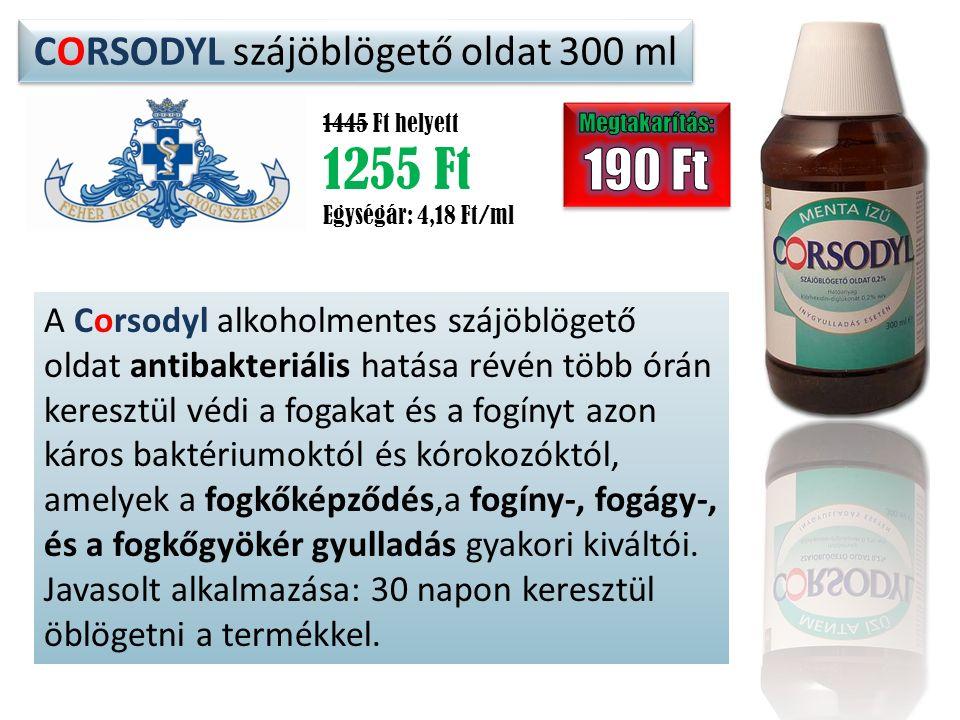 CORSODYL szájöblögető oldat 300 ml 1445 Ft helyett 1255 Ft Egységár: 4,18 Ft/ml A Corsodyl alkoholmentes szájöblögető oldat antibakteriális hatása rév