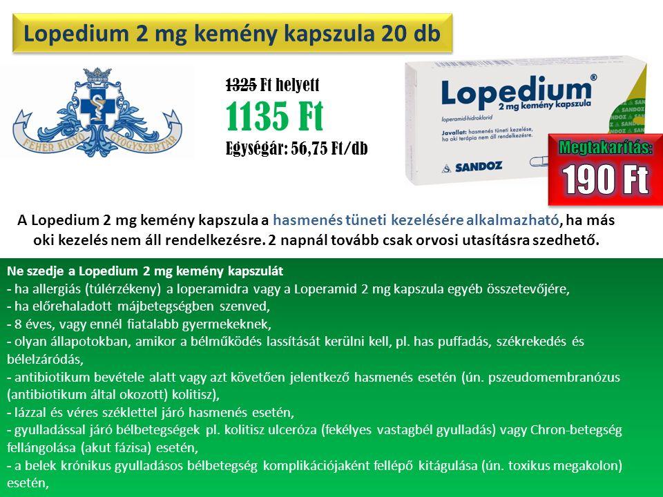 Lopedium 2 mg kemény kapszula 20 db 20 1325 Ft helyett 1135 Ft Egységár: 56,75 Ft/db A Lopedium 2 mg kemény kapszula a hasmenés tüneti kezelésére alkalmazható, ha más oki kezelés nem áll rendelkezésre.