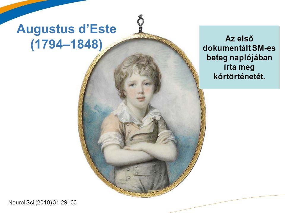 Augustus d'Este (1794–1848) Az első dokumentált SM-es beteg naplójában írta meg kórtörténetét.