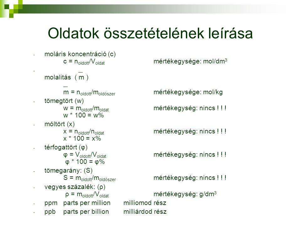 Oldatok összetételének leírása - moláris koncentráció (c) c = n oldott /V oldat mértékegysége: mol/dm 3 - — molalitás ( m ) — m = n oldott /m oldószer mértékegysége: mol/kg - tömegtört (w) w = m oldott /m oldat mértékegység: nincs .