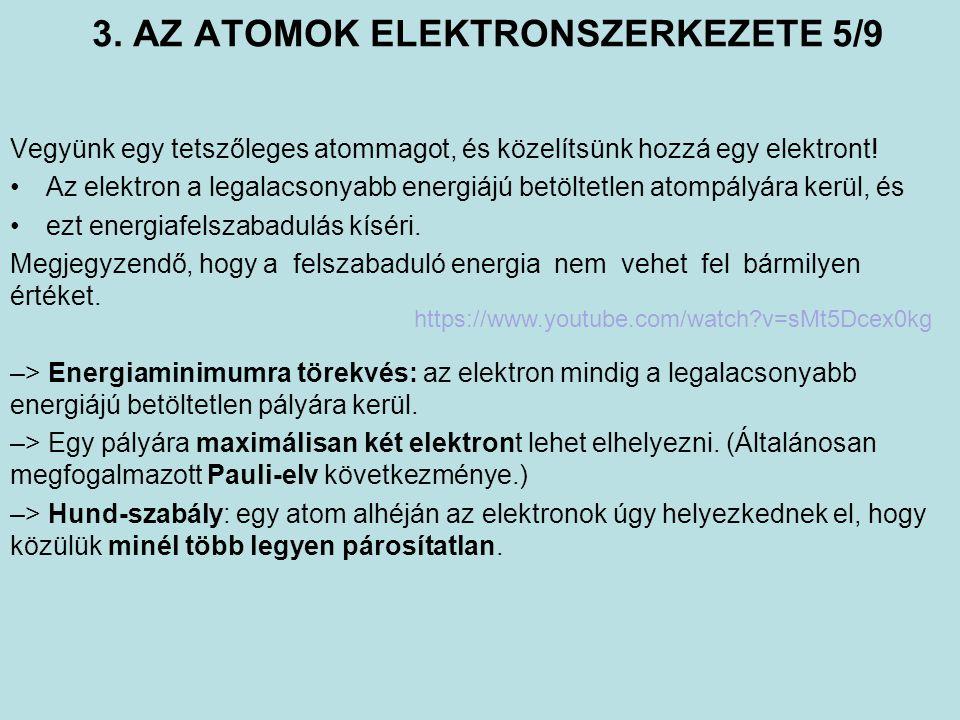 3. AZ ATOMOK ELEKTRONSZERKEZETE 5/9 Vegyünk egy tetszőleges atommagot, és közelítsünk hozzá egy elektront! Az elektron a legalacsonyabb energiájú betö