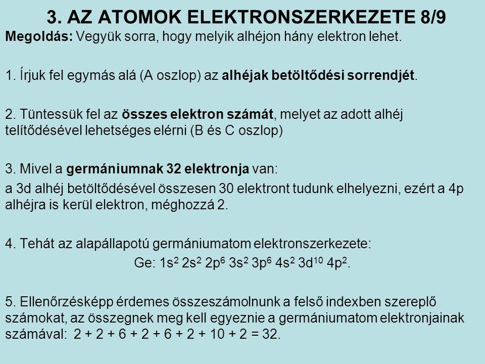 3. AZ ATOMOK ELEKTRONSZERKEZETE 8/9 Megoldás: Vegyük sorra, hogy melyik alhéjon hány elektron lehet. 1. Írjuk fel egymás alá (A oszlop) az alhéjak bet