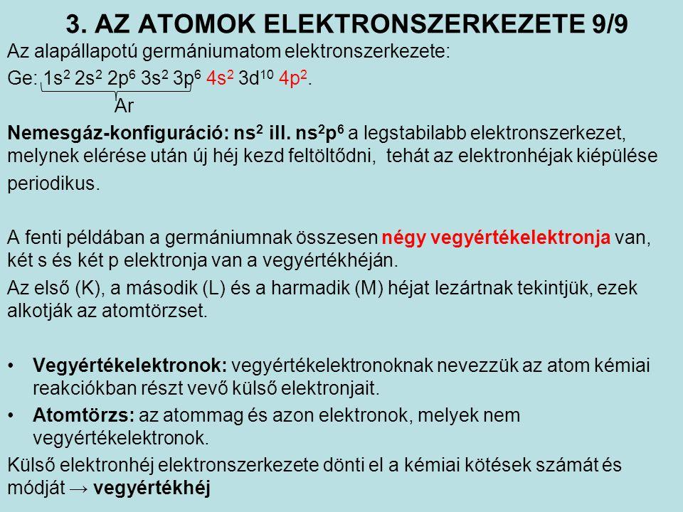 3. AZ ATOMOK ELEKTRONSZERKEZETE 9/9 Az alapállapotú germániumatom elektronszerkezete: Ge: 1s 2 2s 2 2p 6 3s 2 3p 6 4s 2 3d 10 4p 2. Ar Nemesgáz-konfig