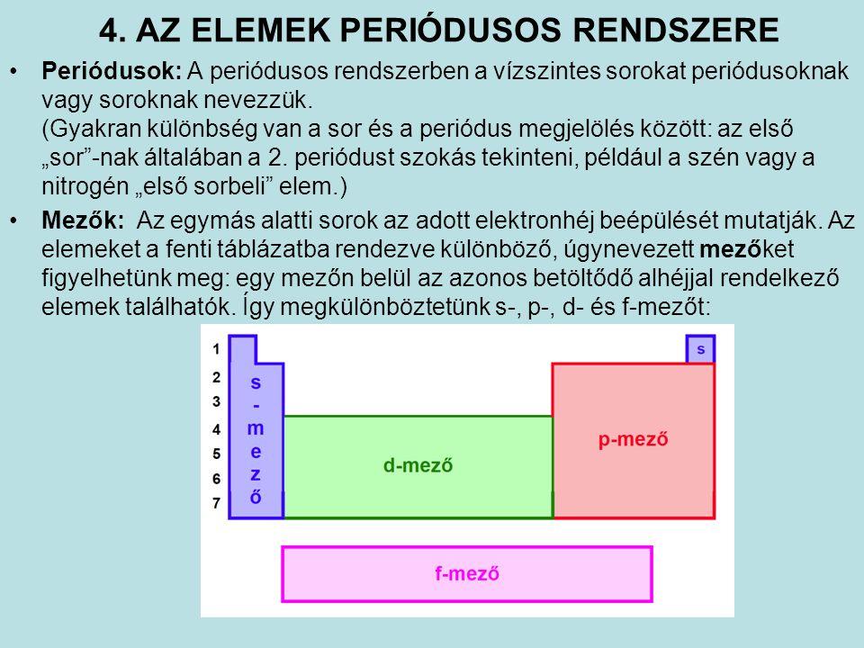 4. AZ ELEMEK PERIÓDUSOS RENDSZERE Periódusok: A periódusos rendszerben a vízszintes sorokat periódusoknak vagy soroknak nevezzük. (Gyakran különbség v