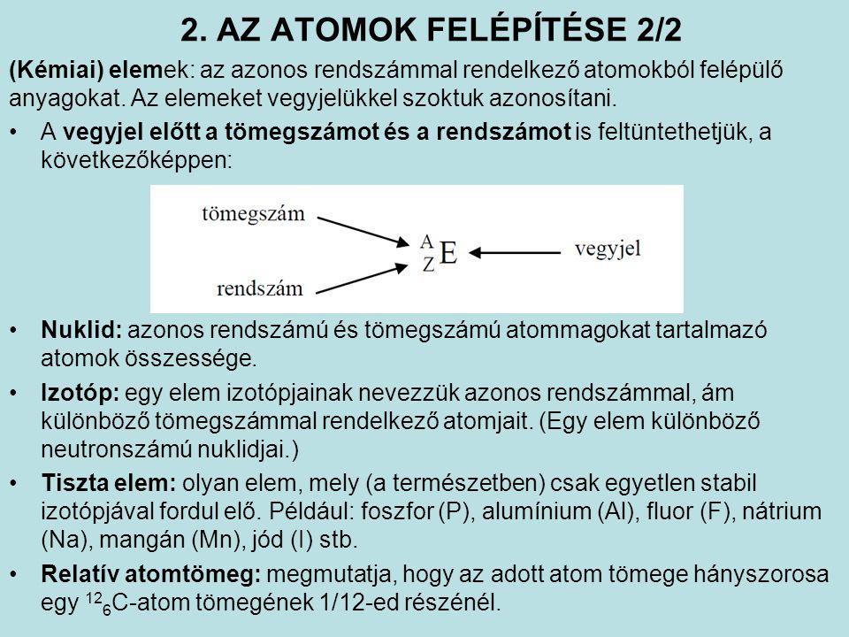 2. AZ ATOMOK FELÉPÍTÉSE 2/2 (Kémiai) elemek: az azonos rendszámmal rendelkező atomokból felépülő anyagokat. Az elemeket vegyjelükkel szoktuk azonosíta