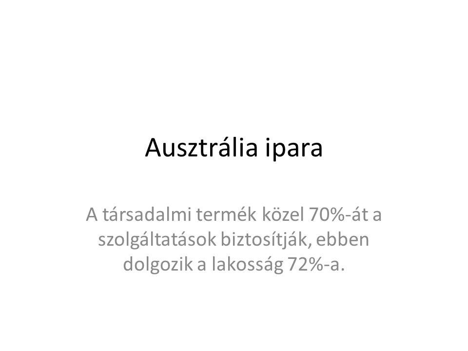 Ausztrália ipara A társadalmi termék közel 70%-át a szolgáltatások biztosítják, ebben dolgozik a lakosság 72%-a.