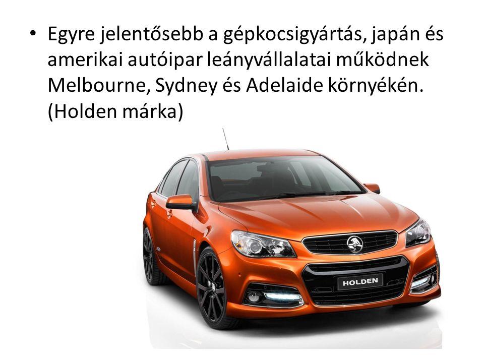 Egyre jelentősebb a gépkocsigyártás, japán és amerikai autóipar leányvállalatai működnek Melbourne, Sydney és Adelaide környékén. (Holden márka)