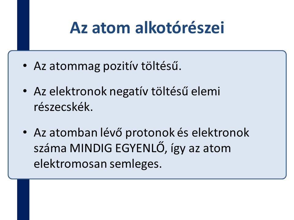 Az atom alkotórészei Az atommag pozitív töltésű. Az elektronok negatív töltésű elemi részecskék. Az atomban lévő protonok és elektronok száma MINDIG E