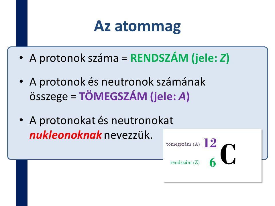 Az atommag A protonok száma = RENDSZÁM (jele: Z) A protonok és neutronok számának összege = TÖMEGSZÁM (jele: A) A protonokat és neutronokat nukleonokn