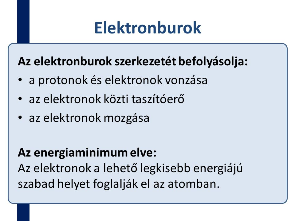 Elektronburok Az elektronburok szerkezetét befolyásolja: a protonok és elektronok vonzása az elektronok közti taszítóerő az elektronok mozgása Az ener