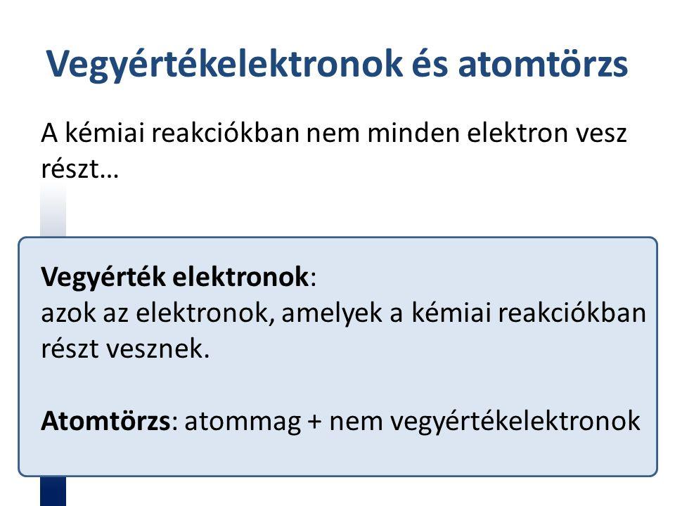 Vegyértékelektronok és atomtörzs A kémiai reakciókban nem minden elektron vesz részt… Vegyérték elektronok: azok az elektronok, amelyek a kémiai reakciókban részt vesznek.