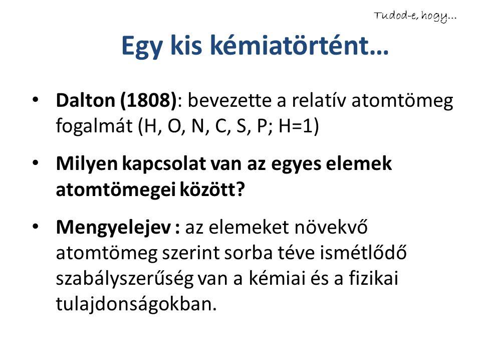 Egy kis kémiatörtént… Dalton (1808): bevezette a relatív atomtömeg fogalmát (H, O, N, C, S, P; H=1) Milyen kapcsolat van az egyes elemek atomtömegei k