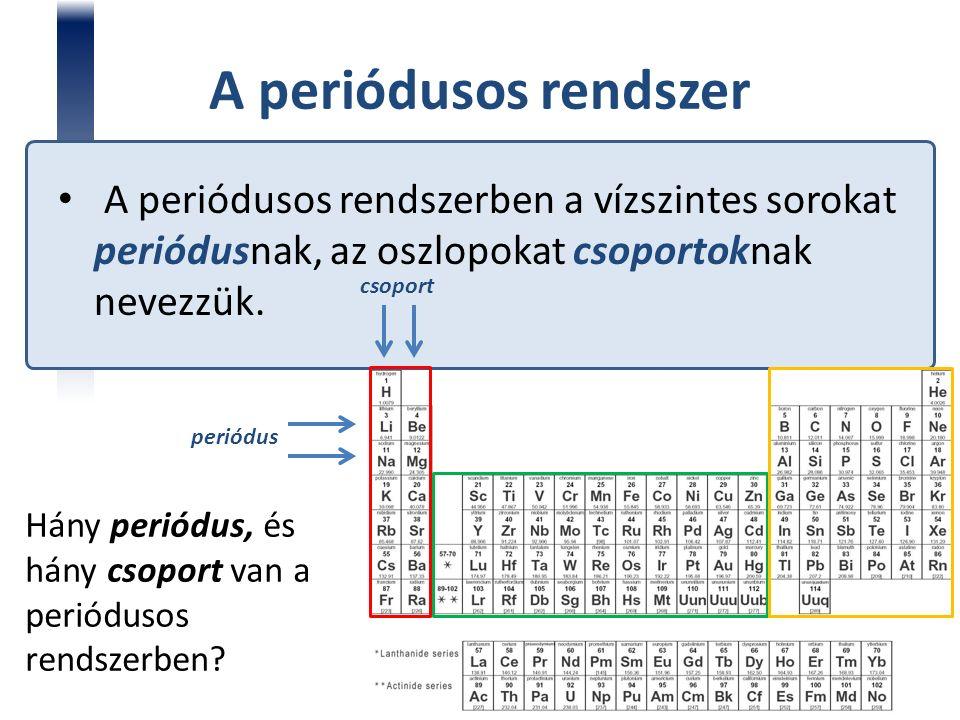 A periódusos rendszerben a vízszintes sorokat periódusnak, az oszlopokat csoportoknak nevezzük. periódus csoport Hány periódus, és hány csoport van a