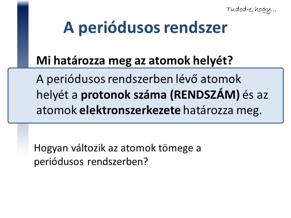 A periódusos rendszer Mi határozza meg az atomok helyét? A periódusos rendszerben lévő atomok helyét a protonok száma (RENDSZÁM) és az atomok elektron