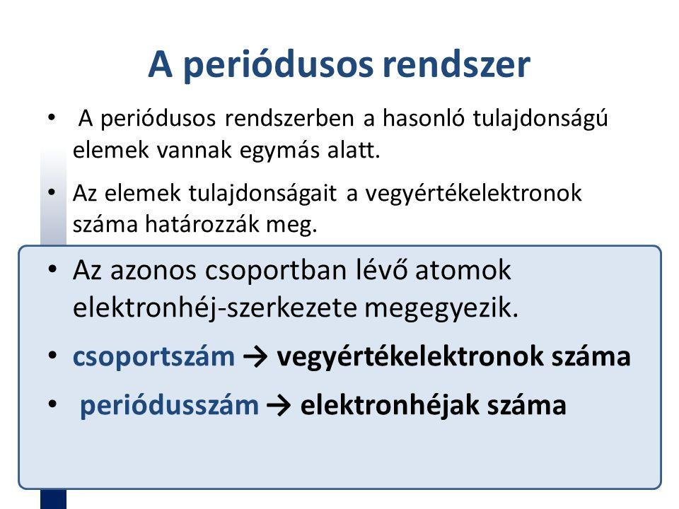 A periódusos rendszer A periódusos rendszerben a hasonló tulajdonságú elemek vannak egymás alatt. Az elemek tulajdonságait a vegyértékelektronok száma
