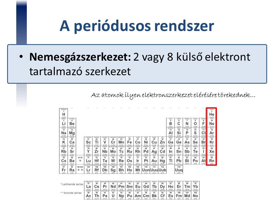 A periódusos rendszer Nemesgázszerkezet: 2 vagy 8 külső elektront tartalmazó szerkezet Az atomok ilyen elektronszerkezet elérésére törekednek…