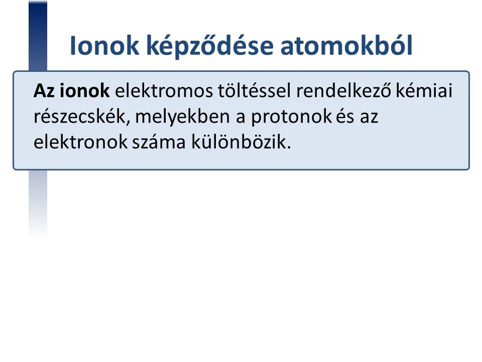 Ionok képződése atomokból Az ionok elektromos töltéssel rendelkező kémiai részecskék, melyekben a protonok és az elektronok száma különbözik.