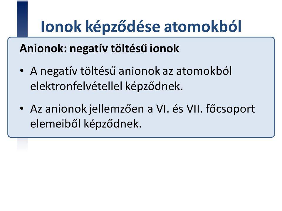 Ionok képződése atomokból Anionok: negatív töltésű ionok A negatív töltésű anionok az atomokból elektronfelvétellel képződnek. Az anionok jellemzően a