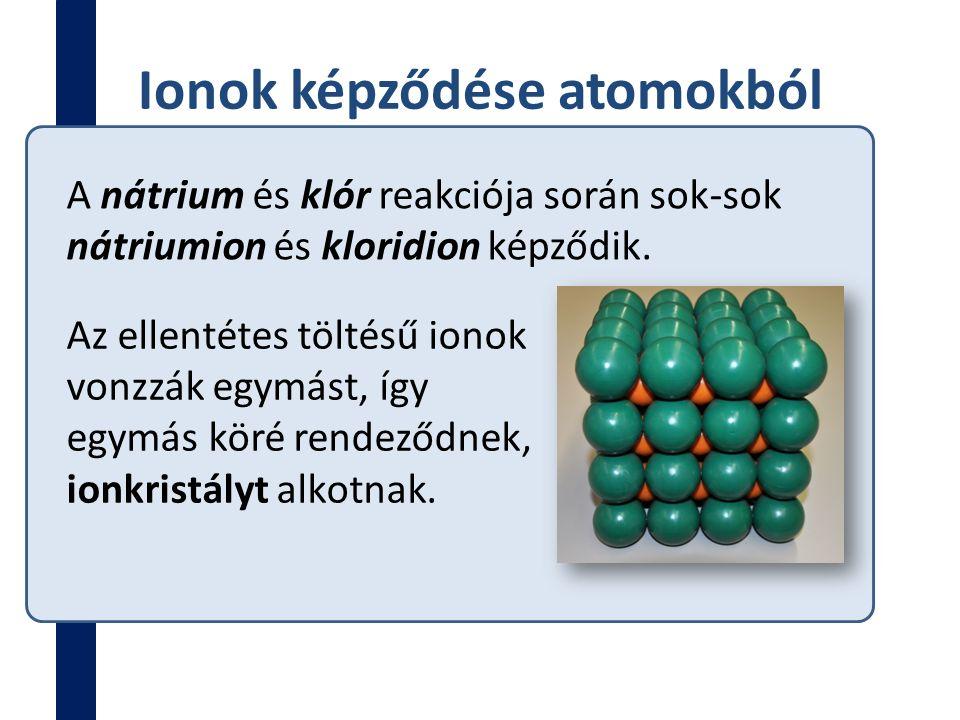 Ionok képződése atomokból A nátrium és klór reakciója során sok-sok nátriumion és kloridion képződik. Az ellentétes töltésű ionok vonzzák egymást, így