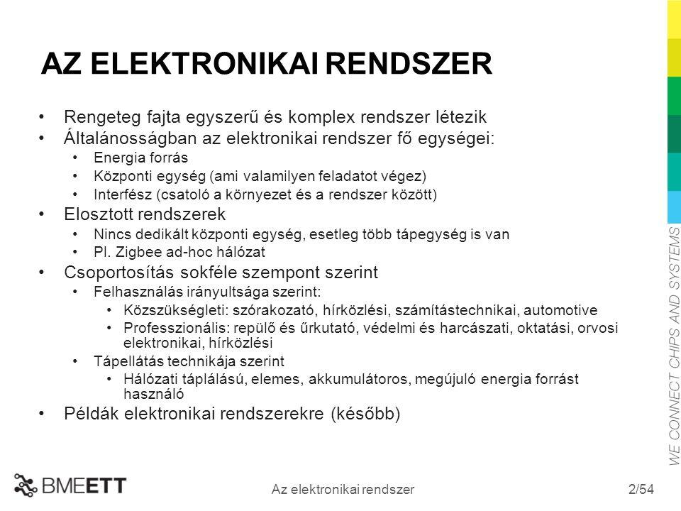 /54 Az elektronikai rendszer 2 AZ ELEKTRONIKAI RENDSZER Rengeteg fajta egyszerű és komplex rendszer létezik Általánosságban az elektronikai rendszer fő egységei: Energia forrás Központi egység (ami valamilyen feladatot végez) Interfész (csatoló a környezet és a rendszer között) Elosztott rendszerek Nincs dedikált központi egység, esetleg több tápegység is van Pl.