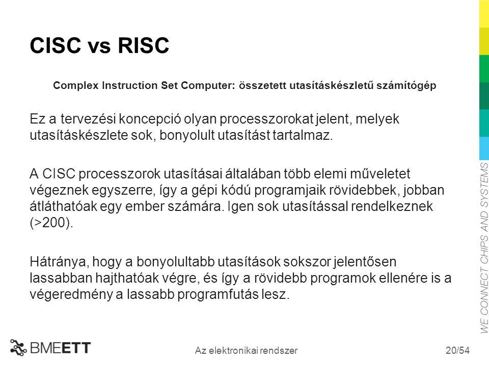 /54 Az elektronikai rendszer 20 CISC vs RISC Complex Instruction Set Computer: összetett utasításkészletű számítógép Ez a tervezési koncepció olyan processzorokat jelent, melyek utasításkészlete sok, bonyolult utasítást tartalmaz.