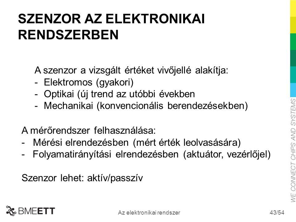 /54 Az elektronikai rendszer 43 SZENZOR AZ ELEKTRONIKAI RENDSZERBEN A szenzor a vizsgált értéket vivőjellé alakítja: -Elektromos (gyakori) -Optikai (új trend az utóbbi években -Mechanikai (konvencionális berendezésekben) A mérőrendszer felhasználása: - Mérési elrendezésben (mért érték leolvasására) -Folyamatirányítási elrendezésben (aktuátor, vezérlőjel) Szenzor lehet: aktív/passzív