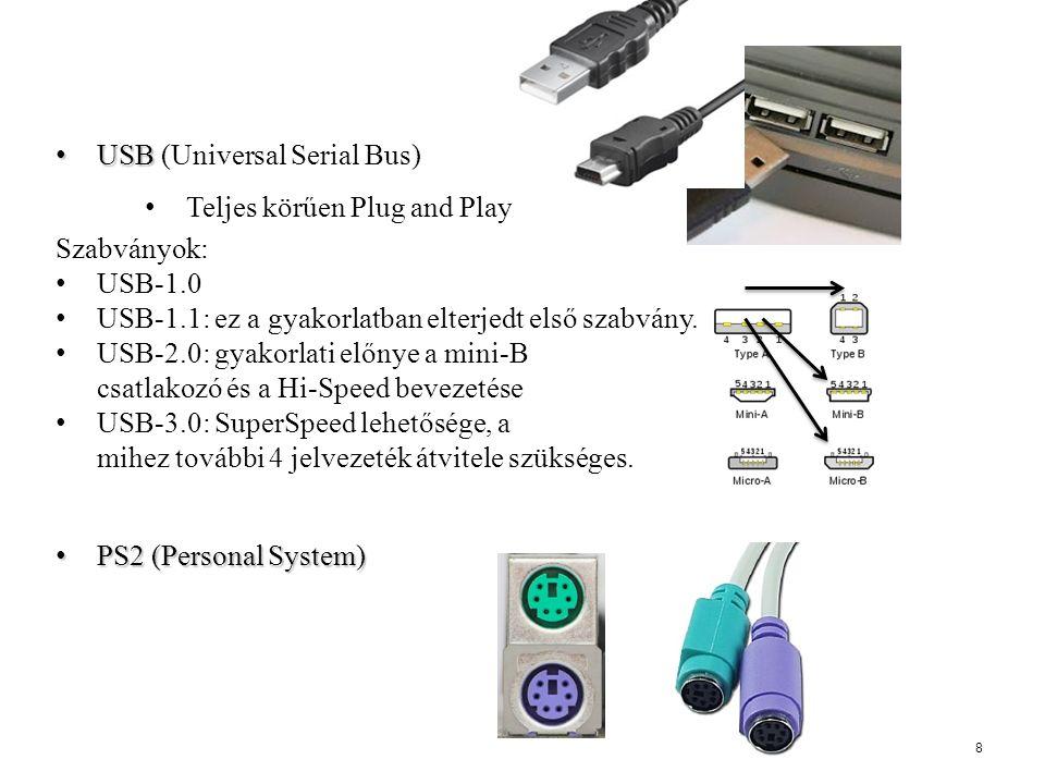 USB USB (Universal Serial Bus) Teljes körűen Plug and Play Szabványok: USB-1.0 USB-1.1: ez a gyakorlatban elterjedt első szabvány. USB-2.0: gyakorlati