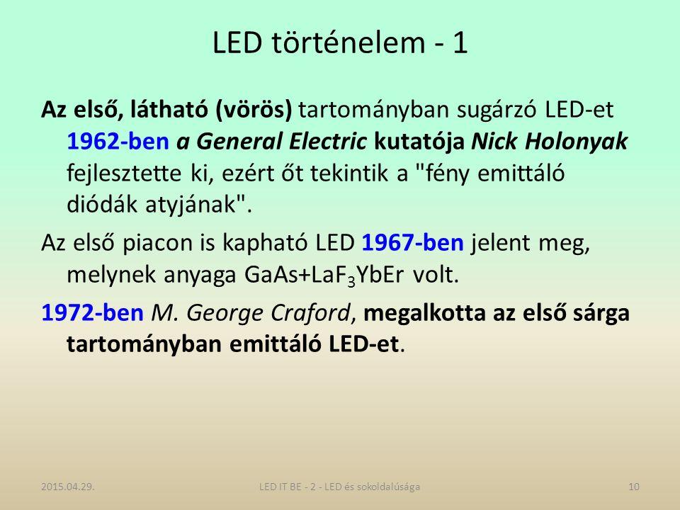 LED történelem - 1 Az első, látható (vörös) tartományban sugárzó LED-et 1962-ben a General Electric kutatója Nick Holonyak fejlesztette ki, ezért őt tekintik a fény emittáló diódák atyjának .