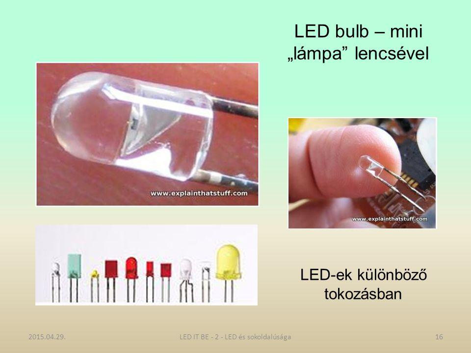 """LED bulb – mini """"lámpa lencsével 2015.04.29.16LED IT BE - 2 - LED és sokoldalúsága LED-ek különböző tokozásban"""