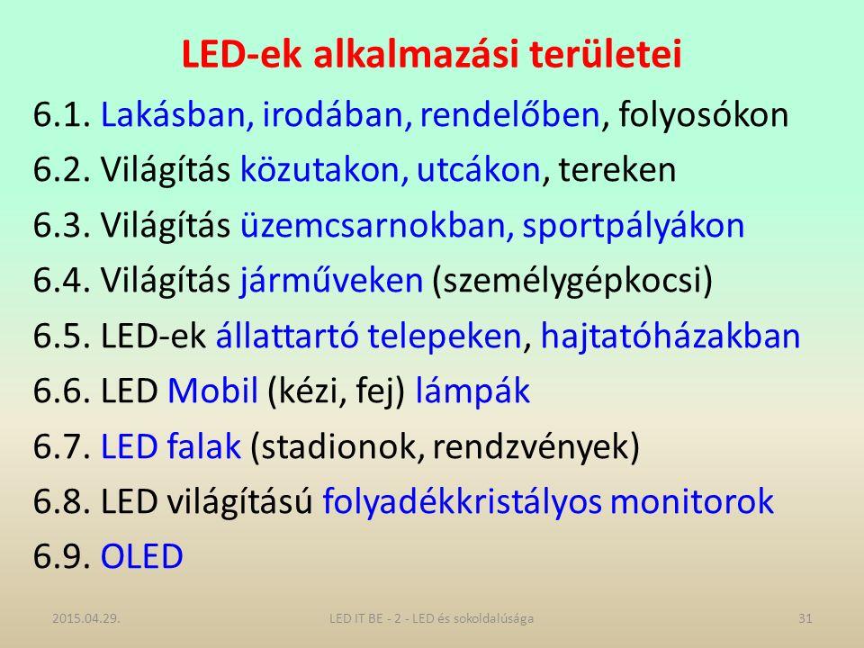 LED-ek alkalmazási területei 6.1.Lakásban, irodában, rendelőben, folyosókon 6.2.