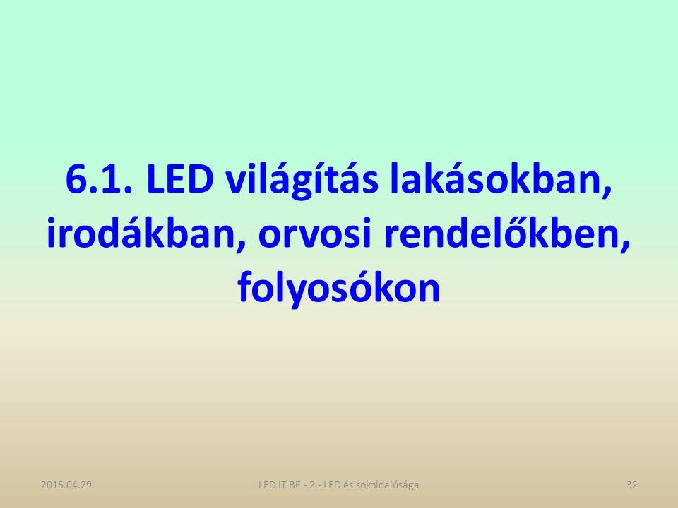 6.1. LED világítás lakásokban, irodákban, orvosi rendelőkben, folyosókon 2015.04.29.32LED IT BE - 2 - LED és sokoldalúsága