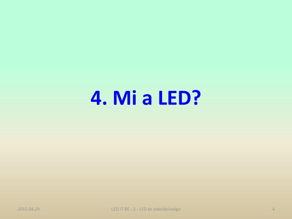 4. Mi a LED? 2015.04.29.4LED IT BE - 2 - LED és sokoldalúsága