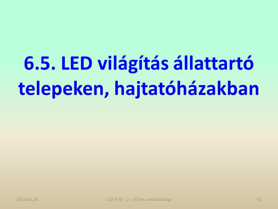 6.5. LED világítás állattartó telepeken, hajtatóházakban 2015.04.29.LED IT BE - 2 - LED és sokoldalúsága61