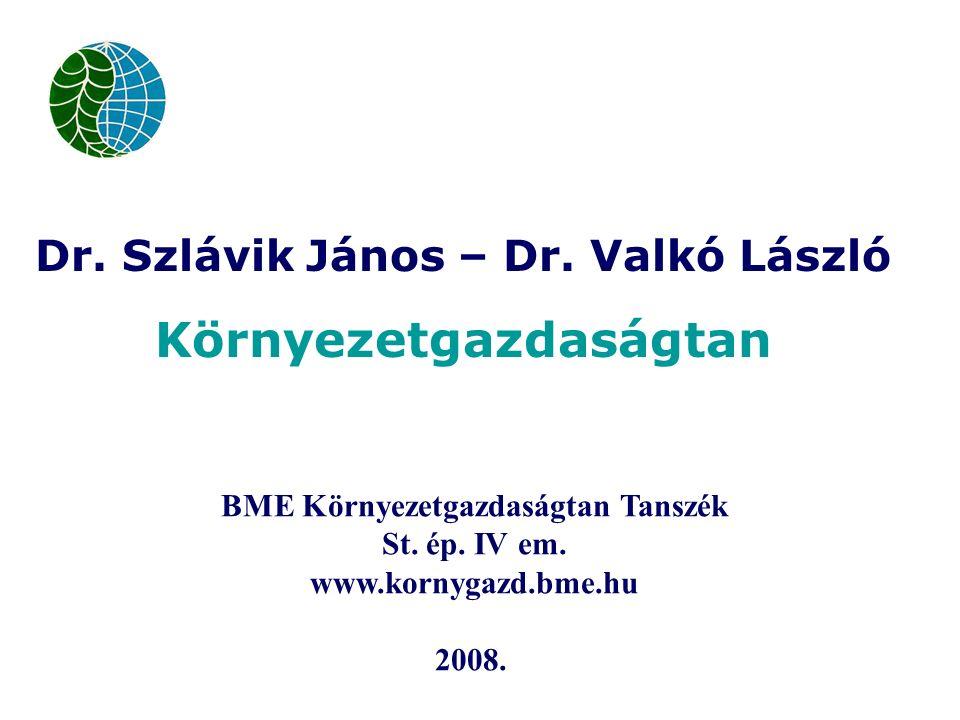 Dr. Szlávik János – Dr. Valkó László Környezetgazdaságtan BME Környezetgazdaságtan Tanszék St.