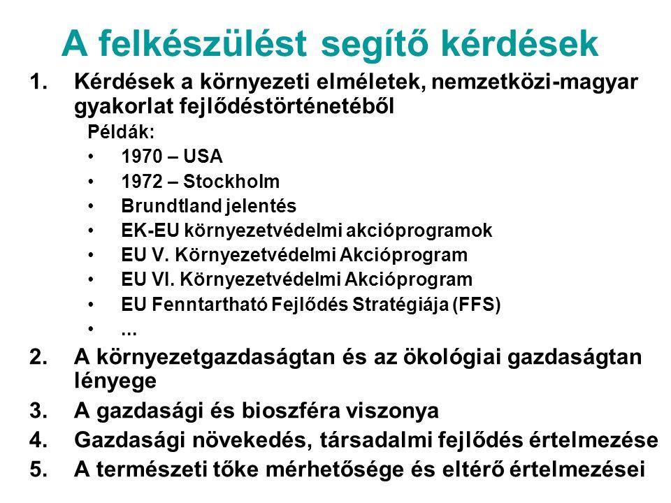 A felkészülést segítő kérdések 1.Kérdések a környezeti elméletek, nemzetközi-magyar gyakorlat fejlődéstörténetéből Példák: 1970 – USA 1972 – Stockholm Brundtland jelentés EK-EU környezetvédelmi akcióprogramok EU V.