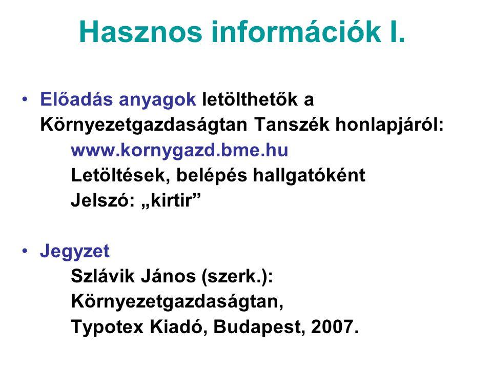 Hasznos információk II.Számonkérés Zh időpontok: 1.zh okt.